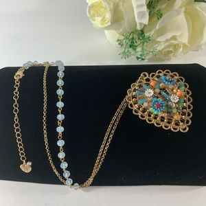Betsey Johnson Weave and Sew Long Necklace